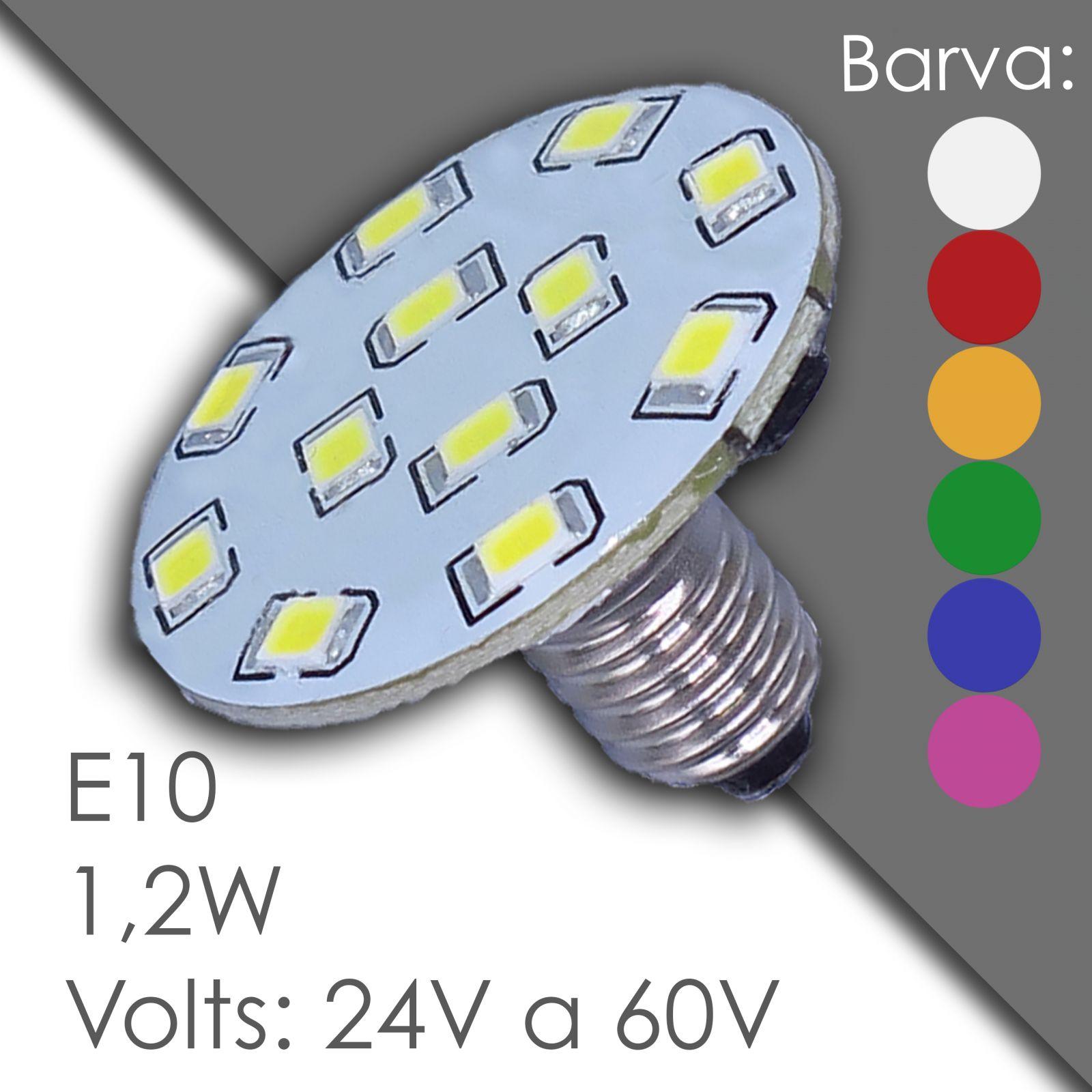 Led E10 - AC 24V, 60V, voděodolný, v gumě